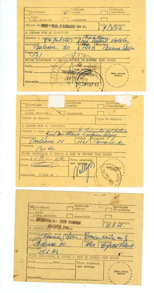 Aviso de retorno cartas enviadas por Norma