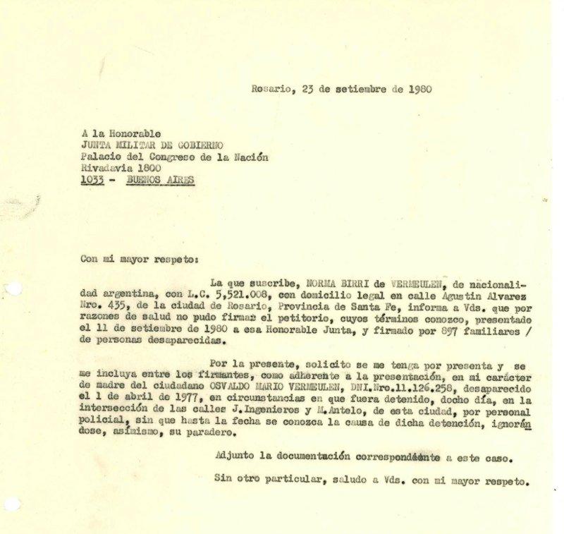 Carta a la Junta Militar Norma 1980