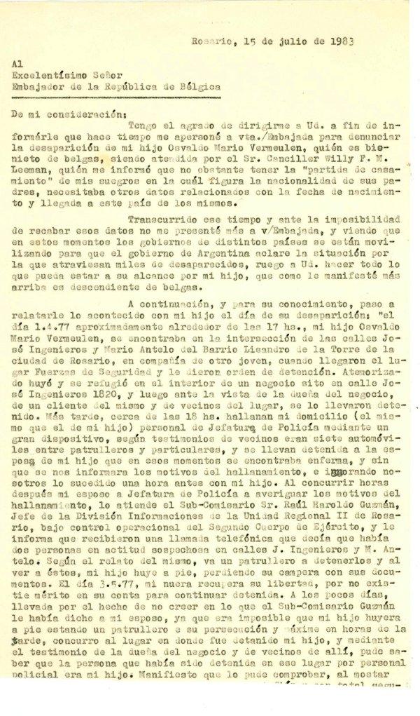Carta al embajador de B'lgica