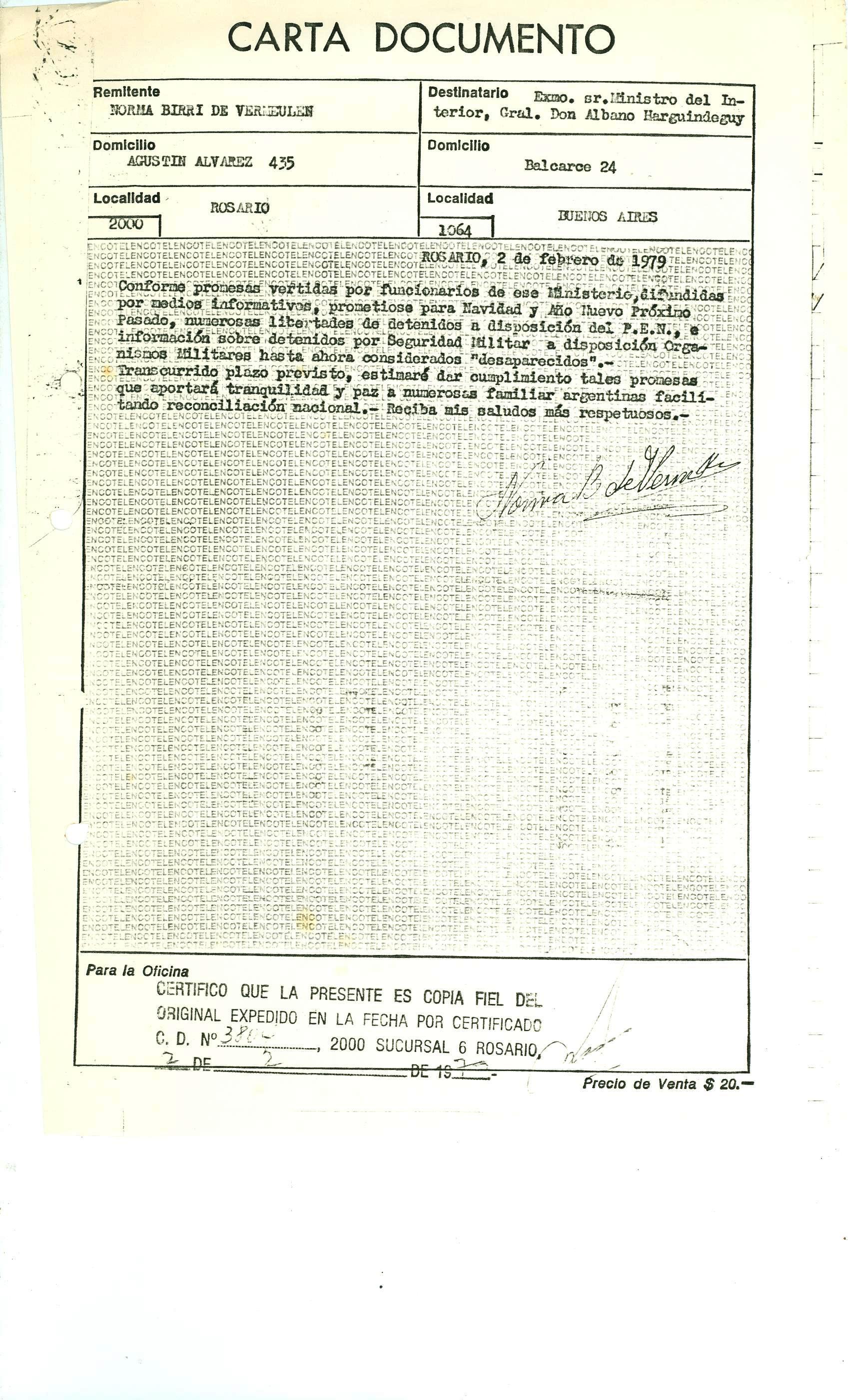 Carta documento Norma 1979