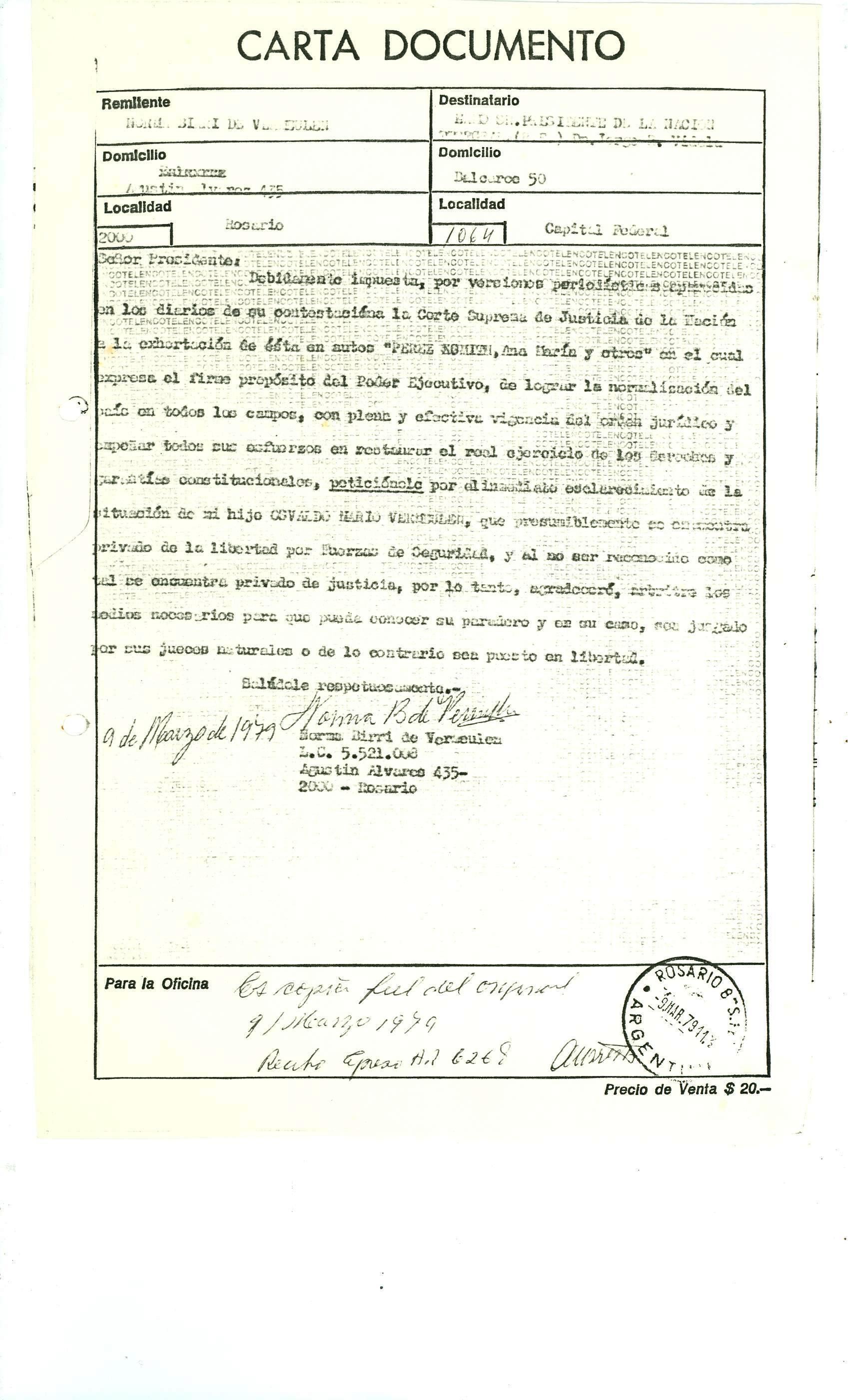 Carta documento Norma al Presidente 1979
