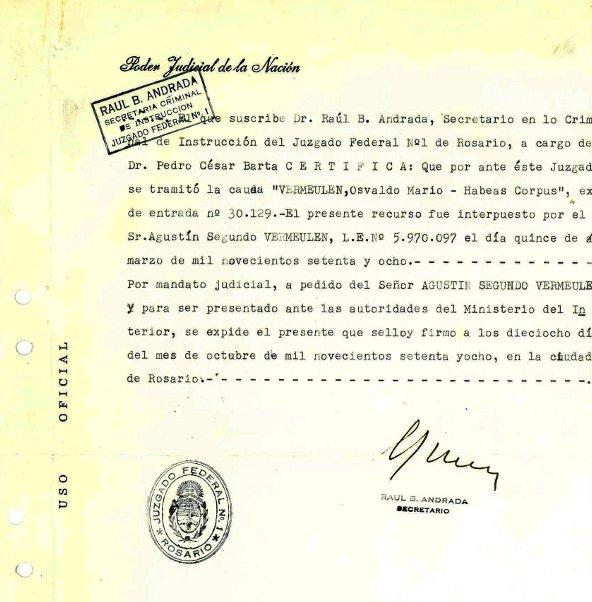 Certificado de Habeas corpus presentado por Agust¡n Vermeulen