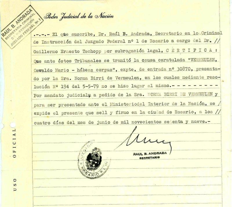 Certificado de Presentaci¢n y Denegaci¢n Habeas Corpus Norma1979