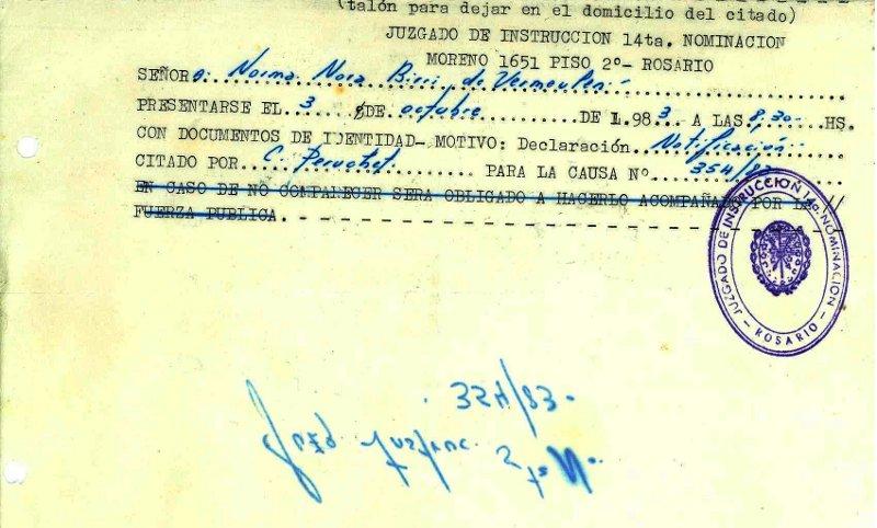 Citaci¢n a declarar en 1983