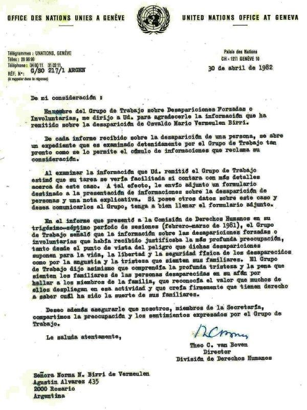 Notificaci¢n ONU 1982