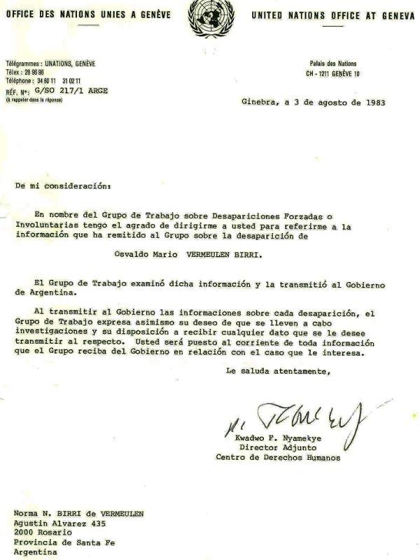 Notificaci¢n ONU 1983