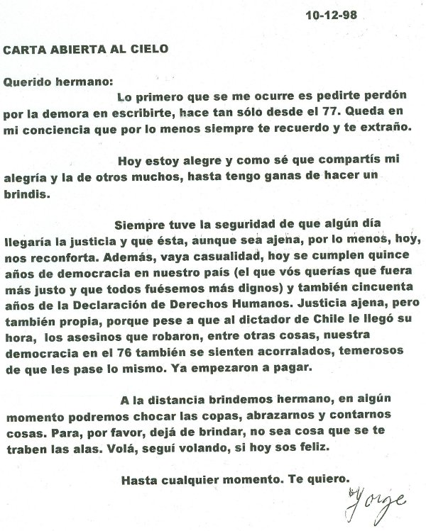 Recuerdo del hermano -motivado por la extradicion de Pinochet