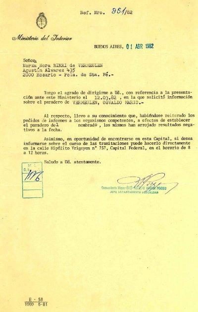 Respuesta del Ministerio del Interior 1982