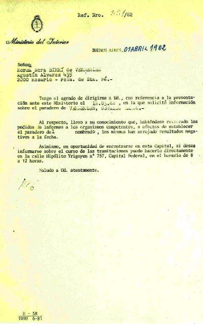 Respuesta Ministerio del Interior 1982