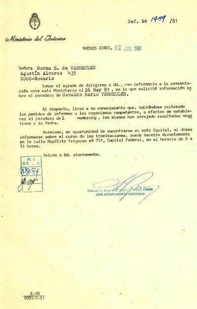 Respuesta Ministerio del interior